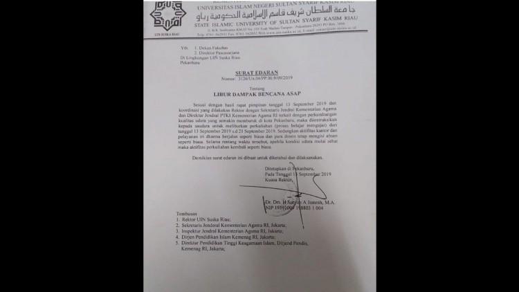 Uin Suska Riau Liburkan Mahasiswa Hingga 21 September 2019