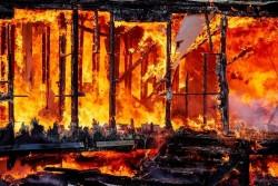 32 Kios Ludes Terbakar di Pasar Kuok Batang Kapas