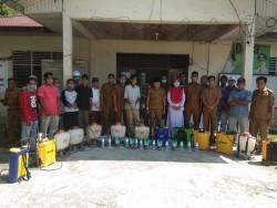Cegah Covid -19, Pemdes Pulau Rambai Lakukan Penyemprotan Disinfektan